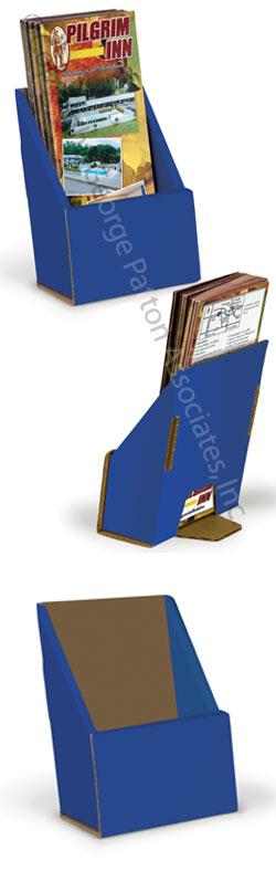 Blue tri fold cardboard brochure holder folding design for Cardboard brochure holder