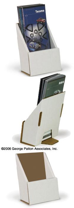 white cardboard brochure holder