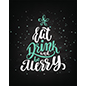 "22"" x 28"" eat, drink, merry holiday cling portrait orientation"