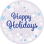 "12"" x 12"" Happy Holidays window cling with adhesive-free install"