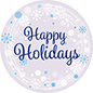 "24"" x 24"" Happy Holidays window cling with snowflake design"