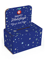 Cardboard holiday donation box with pre-printed seasonal design