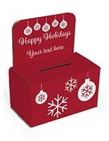 Holiday raffle box with red background