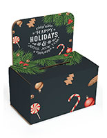 "Cardboard ""Happy Holidays"" ballot box with removable header"