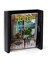 Black single pocket wall mounted literature display