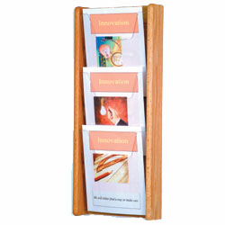 Wall Mount Magazine Racks Light Oak Finish Acrylic Front