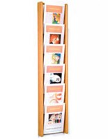 6 compartment wall mounted magazine display rack with column design