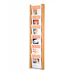 6 compartment wall mounted magazine display rack with oak construction