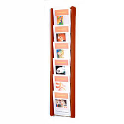 6 pocket magazine rack wall mount with mahogany finish