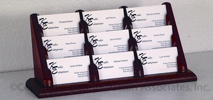 9 Pocket Wooden Business Card Holder 3 Tiered Display