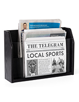 Tiered wooden newspaper rack is made in the USA
