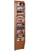 10 tiered magazine rack for wall with solid wood fabrication