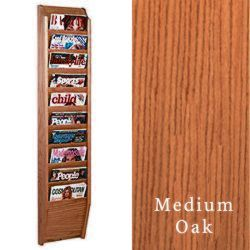10 tiered magazine rack for wall with medium oak finish