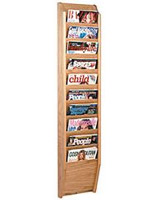 Wall mounted vertical cascade magazine rack with light oak finish