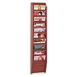 10 pocket magazine wall with mahogany finish
