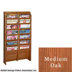 2 wide magazine rack with 14 pockets with wall mounting kit