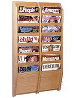 Side by side vertical magazine rack with 14 pockets with light oak finish