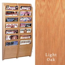 Side by side vertical magazine rack with 14 pockets and light oak finish