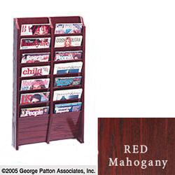 8 x 10 multi magazine mahogany wall holder with dark wood finish