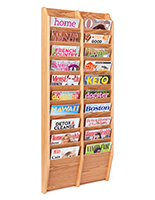 Wall mounted multi magazine rack with solid wood frame