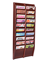 Multi tiered magazine rack for wall display with 10 tier design