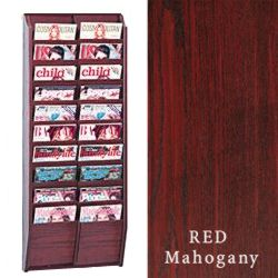 Multi tiered magazine rack for wall display with open shelving for high visibility