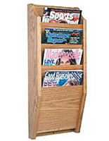 4-pocket portrait orientation magazine holder for waiting rooms