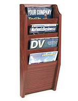 Wooden vertical magazine rack with traditional design