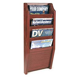 Wooden vertical magazine rack with tiered stacking design