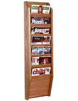 7 tier wall hung magazine rack with medium oak finish
