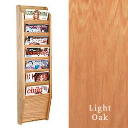 7 tier wood magazine mount with neutral light finish