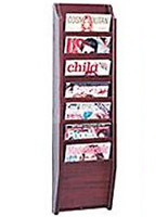 7 slot magazine rack for wall with open pockets for catalogs