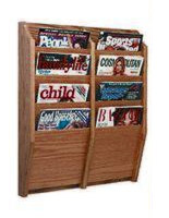 4-tiered vertical magazine wall display racks with solid wood fabrication