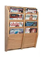 4 tier vertical magazine holder with medium oak finish