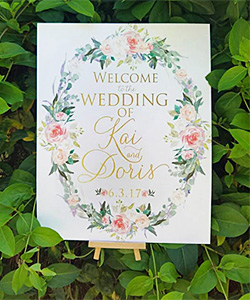 Wedding easel stand used for an outdoor ceremony