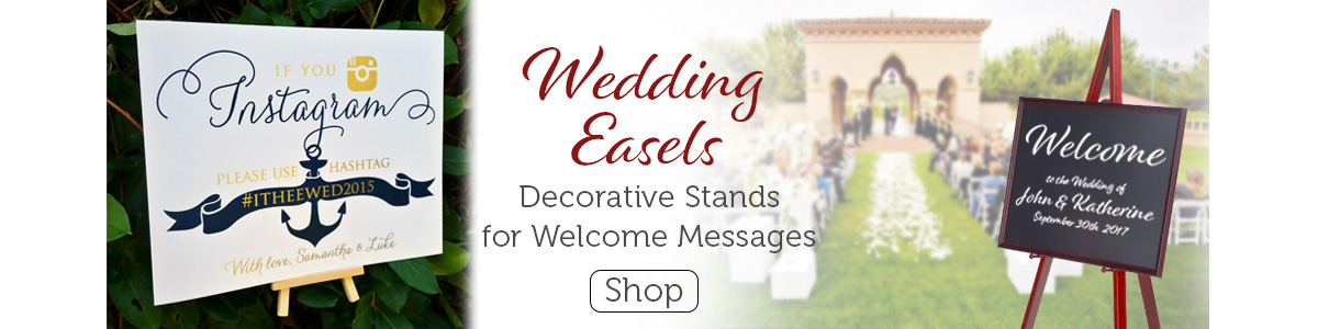 Wedding easels welcome guests to the special occasion