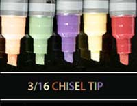 wet markers with 3/16 chisel tip