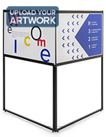Free standing corner sign frame with UV printed full color artwork
