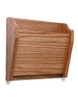 Wooden wall mount single file holder in medium oak finish