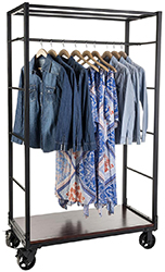 Clothing display rack with wheels