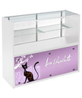 4' White Store Counter with Custom Graphics, Black Standoffs