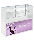4' White Store Counter with Custom Graphics, Silver Standoffs
