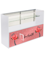 5' White Store Counter with Custom Graphics & Silver Standoffs