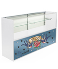 6' White Store Counter with Custom Graphics & Silver Standoffs
