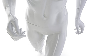 closeup view of a running mannequin