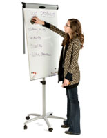 Whiteboard easels with storage space for markers and erasers