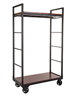 Modern mobile industrial retail dual shelf armoire rack