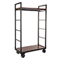 Vintage mobile industrial retail dual shelf armoire rack