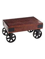 Rustic industrial style low wheeled table