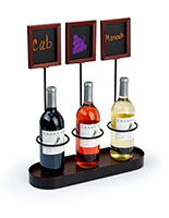 Triple chalkboard bottle display for wine